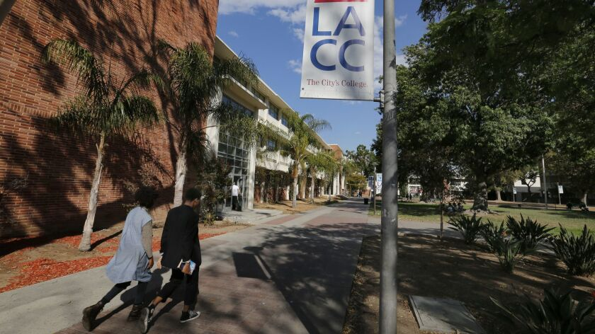 Students walk between classes at Los Angeles City College in Los Angeles, Calif. on Sept. 28, 2016. LAUSD graduates get free tuition and books as part of the College Promise Initiative.