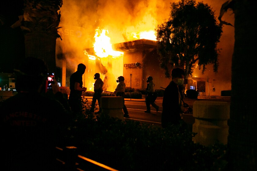 A Chase bank was burned to the ground during riots on May 30 in La Mesa.