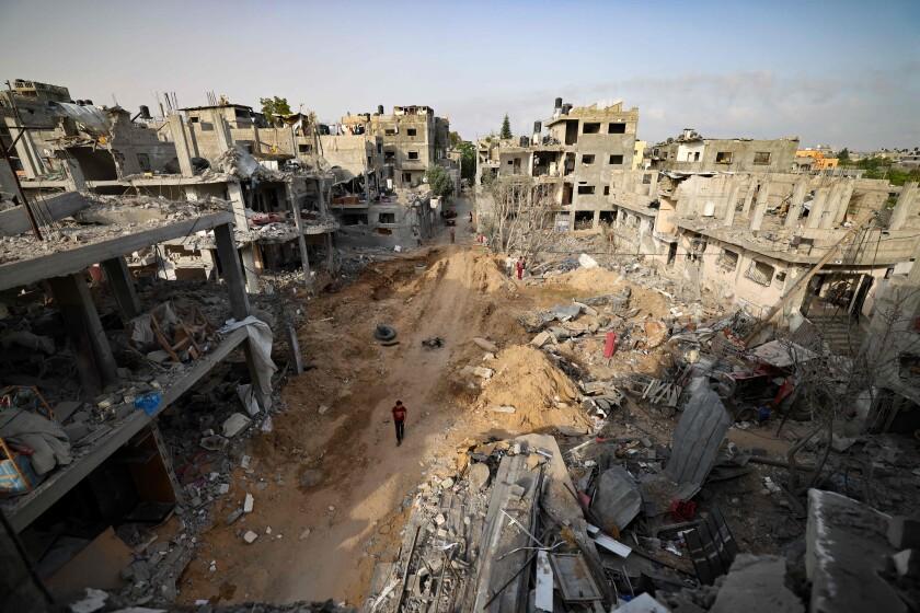 A neighborhood hit by Israeli bombardment in Gaza City on May 21.