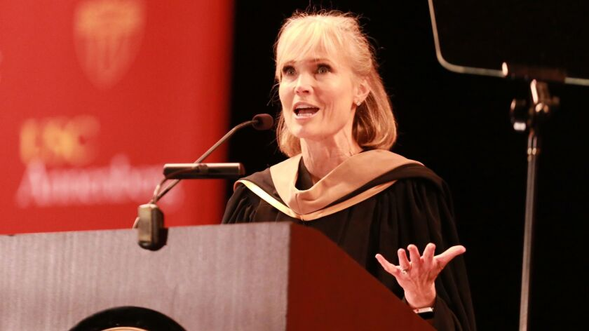 Willow Bay, dean of the USC Annenberg School for Communication and Journalism, speaks at the commencement ceremony in May.