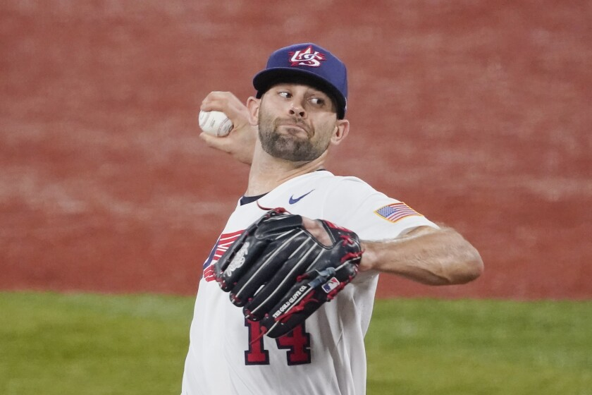United States' Nicholas Martinez pitches during the first inning of a baseball game against South Korea at the 2020 Summer Olympics, Saturday, July 31, 2021, in Yokohama, Japan. (AP Photo/Sue Ogrocki)