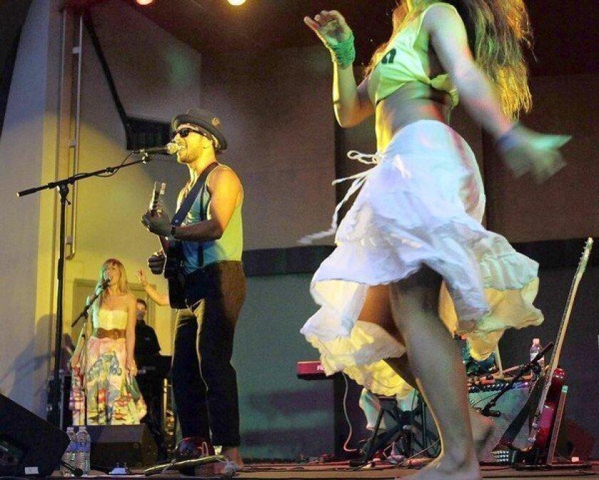 Quetzal Guerrero performs at the Levitt Pavilion in MacArthur Park on Aug. 17, 2012.