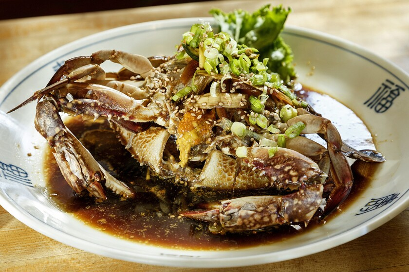 LOS ANGELES - CA - SEPTEMBER 08, 2015 - Ganjang Ge Jang (Fresh live Crab pickled in a brine of soy sauce ginger & garlic, served at SoBan Korean Restaurant in Koreatown, September 08, 2015. Picture to illustrate the Gold 101 guide 2015. (Ricardo DeAratanha/Los Angeles Times)