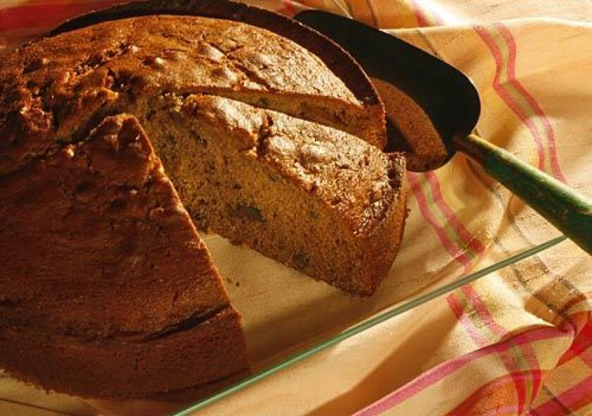 A dense beer cake is flavored with cinnamon, nutmeg and walnuts, and makes a lovely coffee cake alternative.