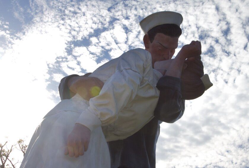"""The """"Unconditional Surrender"""" statue is based on a photograph taken on V-J Day by Alfred Eisenstaedt in Times Square. Scott Allison U-T"""