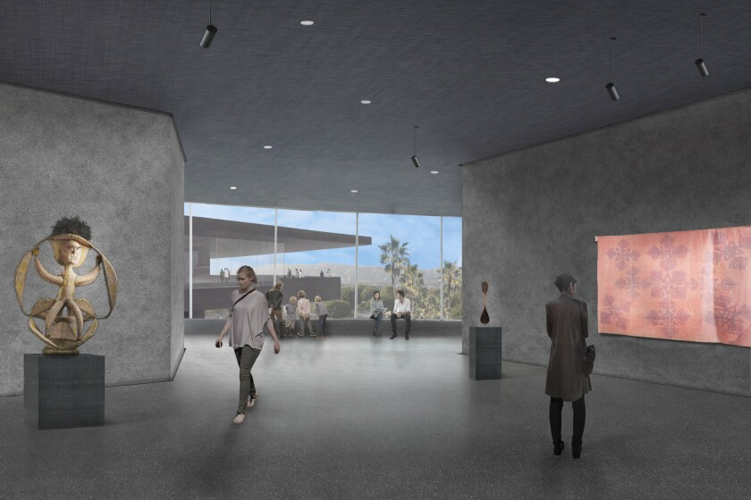 A rendering of one of the exterior galleries planned for Peter Zumthor's new building at the Los Angeles County Museum of Art.