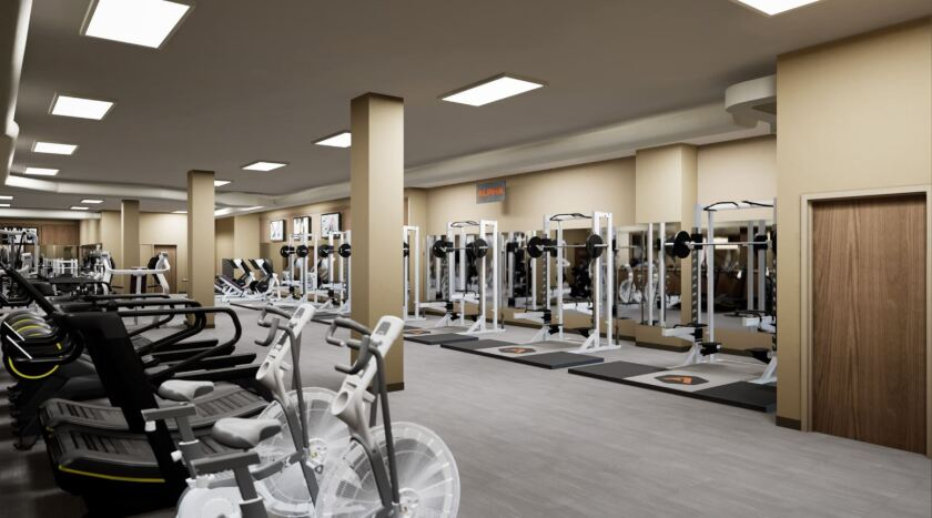Rendering of what one area of Life Time Fitness may look like when it opens at 1055 Wall St. later this year.