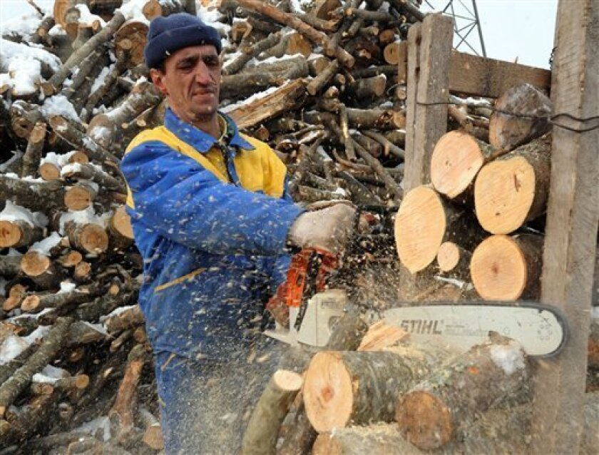 A Bosnian worker cuts wood by the roadside at  the northern entrance to Sarajevo on Wednesday Jan. 7, 2009. Small entrepreneurs have started selling wood and coal after deliveries of Russian natural gas to Bosnia were stopped on Tuesday evening. Bosnian officials say over 72,000 Sarajevo households