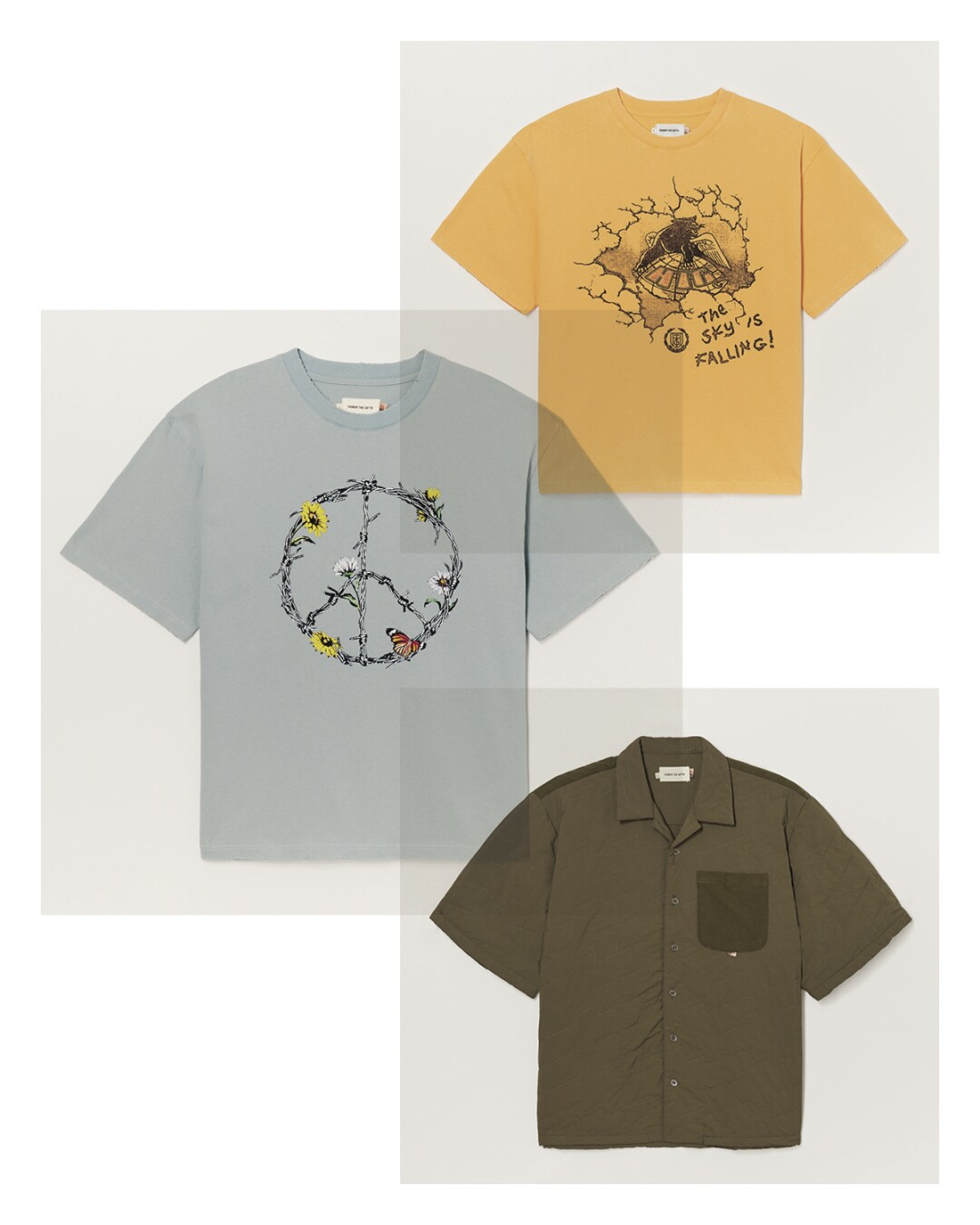 A T-shirt with a peace symbol, a T-shirt that says, 'The Sky's Falling!' and a green collared shirt