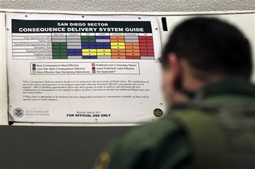 A Border Patrol agent works in front of a color-coded chart at a detention center  Wednesday, Jan. 11, 2012, in Imperial Beach, Calif. The Border Patrol is moving to end its revolving-door policy of turning migrants around to Mexico without any punishment in what amounted to an invitation to immedi