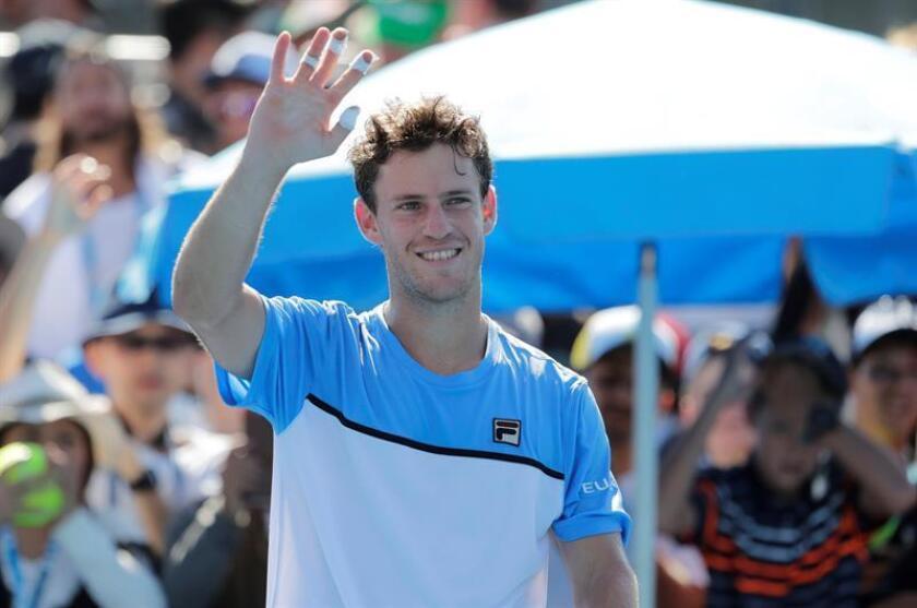 El tenista argentino Diego Schwartzman hoy en el Abierto de Australia, en Melbourne, Australia. EFE