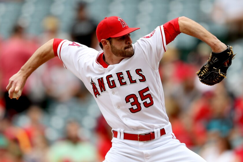 Angels' Nick Tropeano pitches against Houston on May 29.