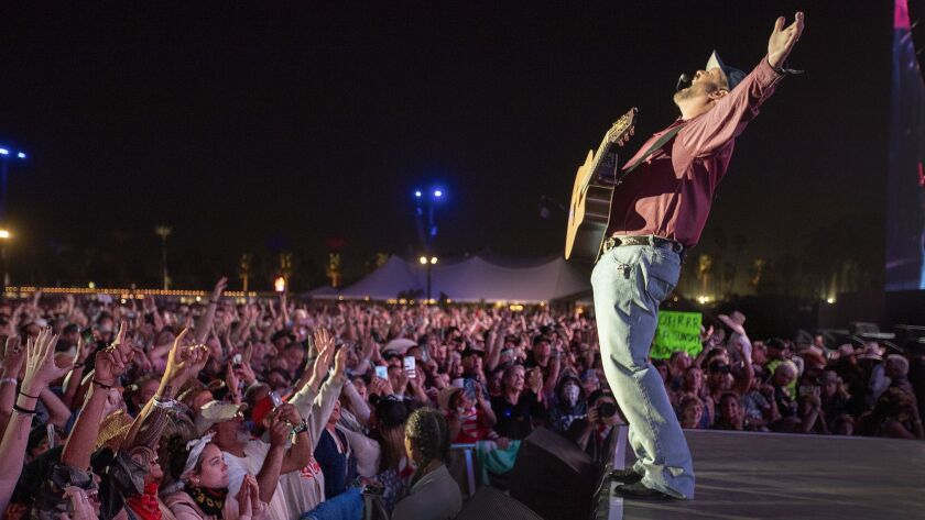 Garth Brooks performs Sunday night at the Stagecoach country music festival in Indio.
