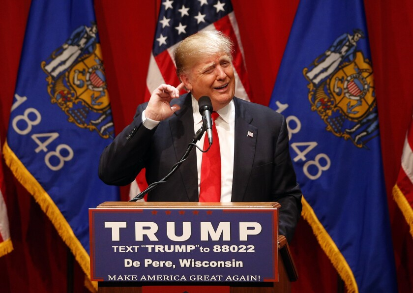Republican presidential front-runner Donald Trump speaks at St. Norbert College in De Pere, Wis., on Wednesday.