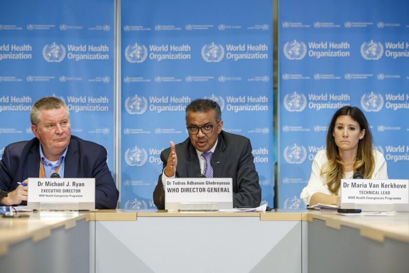 Tedros Adhanom Ghebreyesus, center, director general of the World Health Organization, discusses the novel coronavirus.