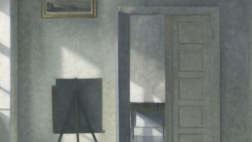 "A detail from Danish painter Vilhelm Hammershøi's 1912 oil painting ""Interior with an Easel, Bredgade 25,"" now on view at the Getty Museum."