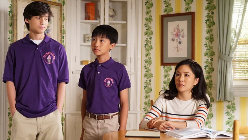 "Forrest Wheeler, left, Ian Chen and Constance Wu in the season premiere of the family comedy ""Fresh Off the Boat"" on ABC."