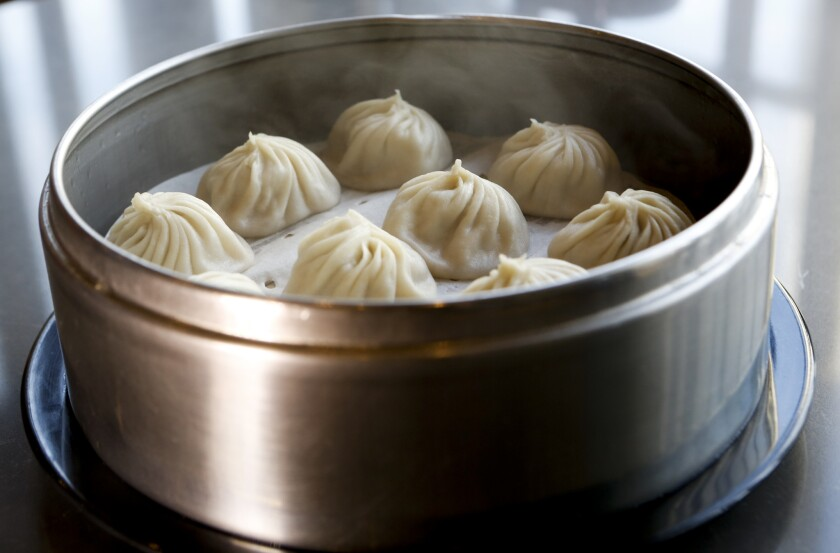Juicy pork dumplings can be found at the Din Tai Fung in the Americana Mall in Glendale.