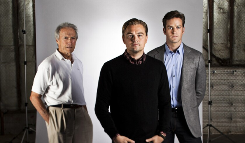 """Director Clint Eastwood, left, and actors Leonardo DiCaprio and Armie Hammer of """"J. Edgar."""""""