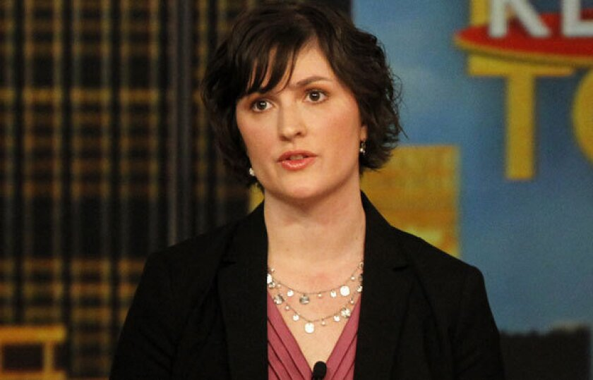 """Sandra Fluke speaks during an appearance on the daytime talk show """"The View"""" last year."""