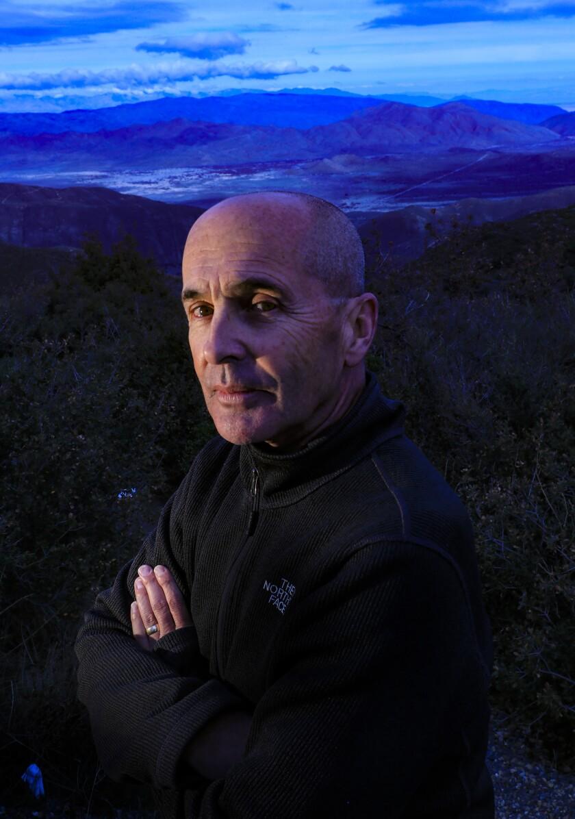 JULIAN, CA., FEB 1, 2019: Thriller/crime novelist Don Winslow stands on a hilltop in San Diego Count