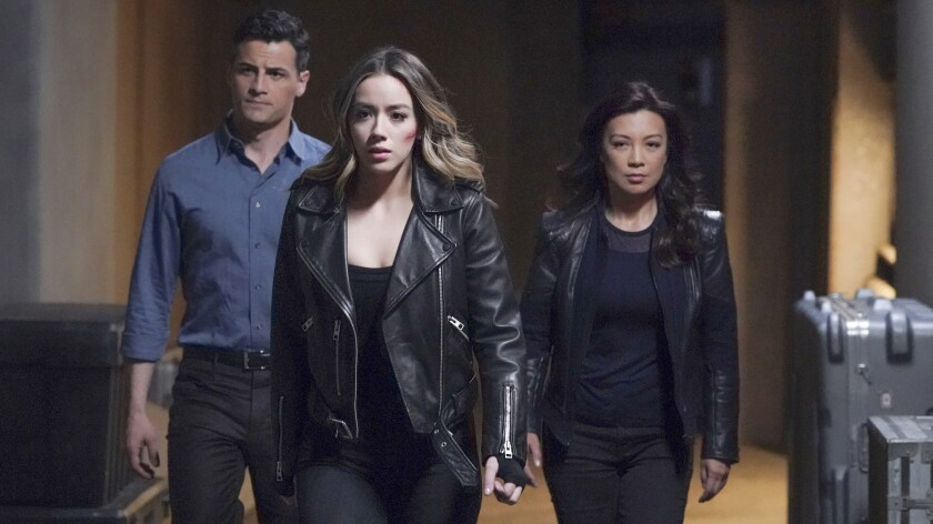"""Enver Gjokaj, left, Chloe Bennet and Ming-Na Wen in the series finale of """"Marvel's Agents of S.H.I.E.L.D. """" on ABC."""
