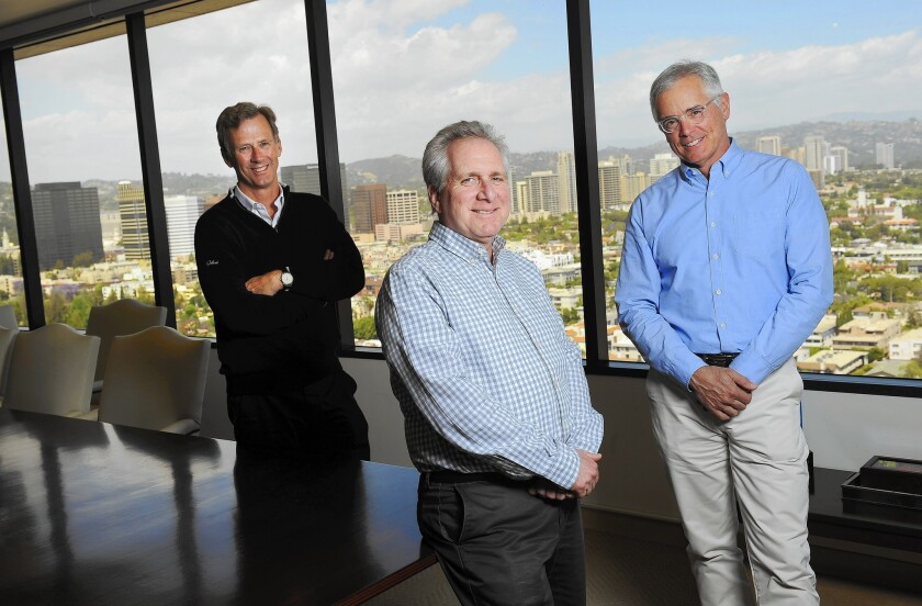 Peter Nolan, left, is senior advisor and Jonathan Sokoloff and John Danhakl are managing partners of Leonard Green & Partners, a West L.A. private equity firm. All three worked at Michael Milken's firm, Drexel Burnham Lambert, in the late 1980s.