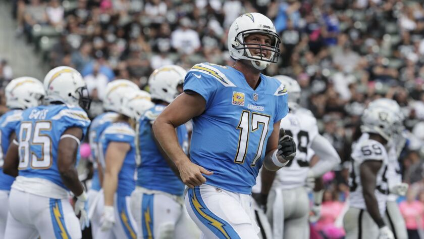 CARSON, CA, SIUNDAY, OCTOBER 7, 2018 - Quarterback Philip Rivers smiles after leading the Chargers