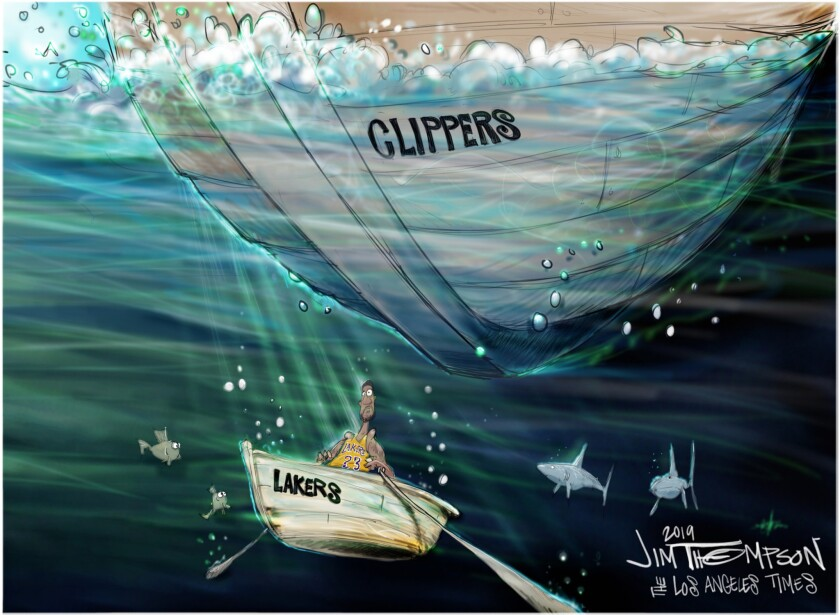 Cartoon of Clippers sinking the Lakers boat with LeBron James in it.