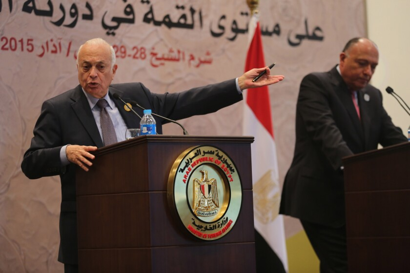 Arab League Secretary-General Nabil Elaraby, left, and Egyptian Foreign Minister Sameh Shukri hold a news conference at the conclusion of the Arab summit in Sharm el Sheik on March 29.