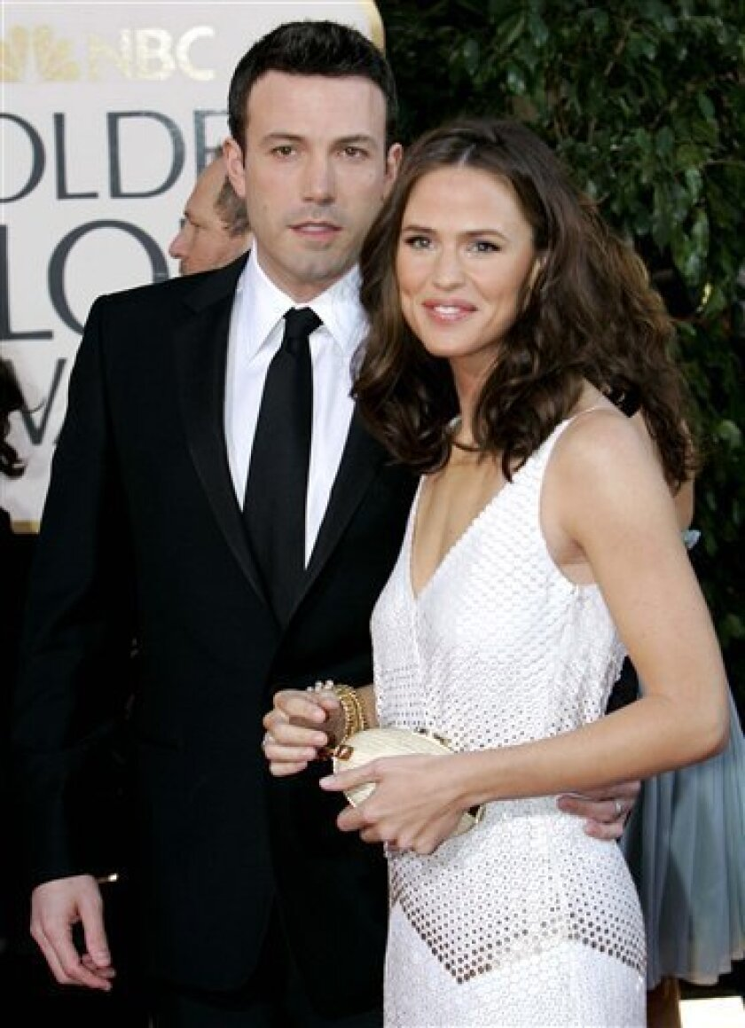 In this Jan. 15, 2007 file photo, Ben Affleck, left, and Jennifer Garner arrive for the 64th Annual Golden Globe Awards in Beverly Hills, Calif. (AP Photo/Mark J. Terrill, file)