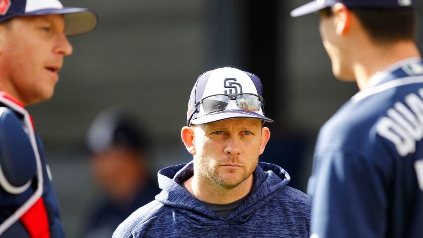 This season will offer a chance to see more of the decision-making ability of manager Andy Green, who enters his third season with the Padres. Green, shown this spring at the team's spring training facility in Peoria, is well respected by his players.