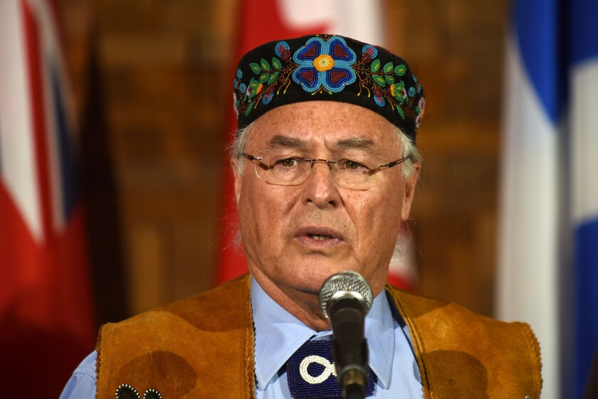 """Metis National Council President Clement Chartier in Vancouver, Canada on March 2, 2016. He told reporters that Thursday's ruling was a """"significant victory."""""""
