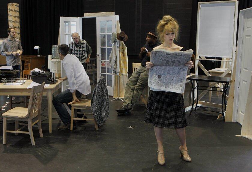 "Jenn Lyon (as Hildy Johnson) and cast mates rehearse a scene from ""His Girl Friday"" at La Jolla Playhouse."