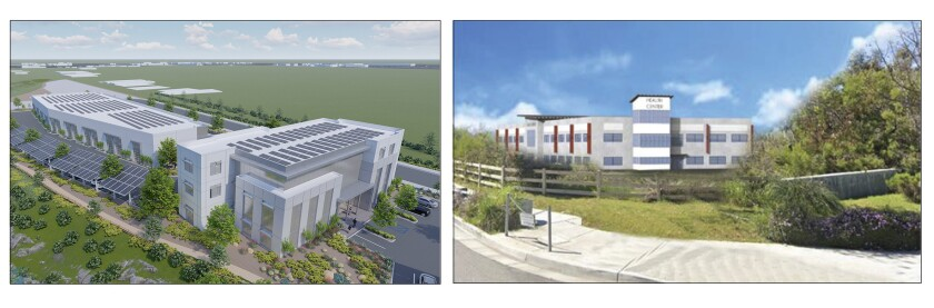 Proposals for a new business park in Encanto include a renewable energy center (left) and a wellness center.