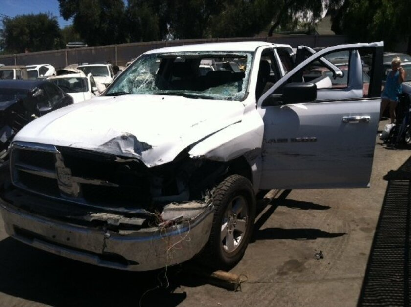 Ed Zieralski's totaled 2011 Dodge Ram 1500 after bizarre accident involving downed power lines on Highway 67 near Ramona.