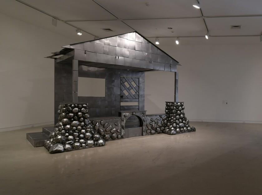 "Beatriz Cortez's ""The Lakota Porch: A Time Traveler,"" 2017, welded steel, sheet metal for the OCMA triennial."