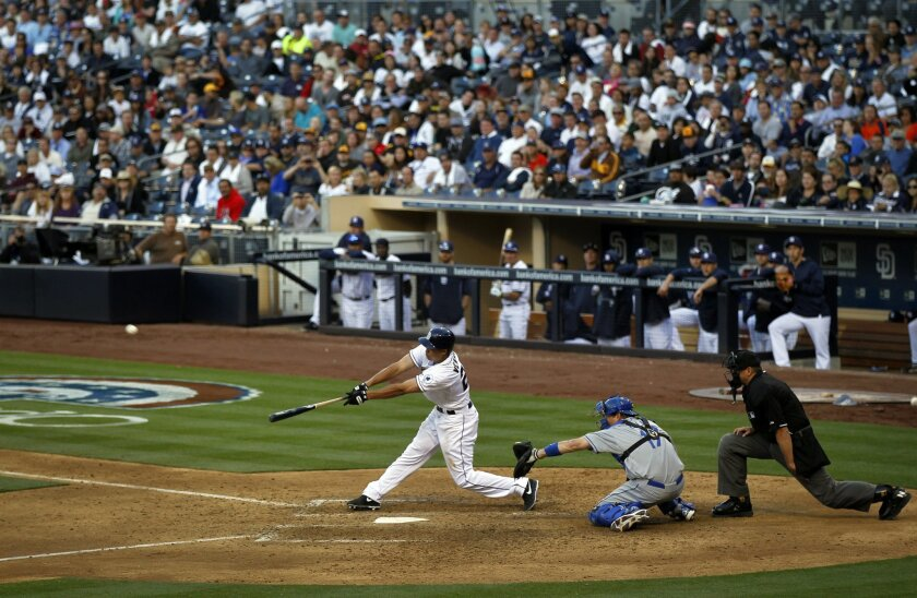 Will Venable hits a 3-RBI triple in the 8th inning against the Dodgers.