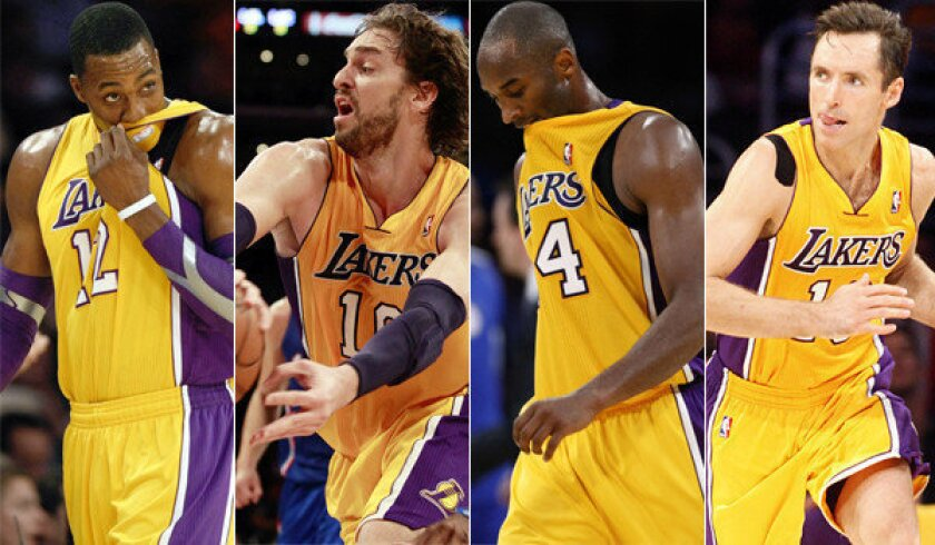 Dwight Howard, left, has cost the Lakers games with his poor free-throw shooting; Pau Gasol has hurt knees and hurt feelings; Kobe Bryant has become the team's unofficial point guard in the absence of the injured Steve Nash.