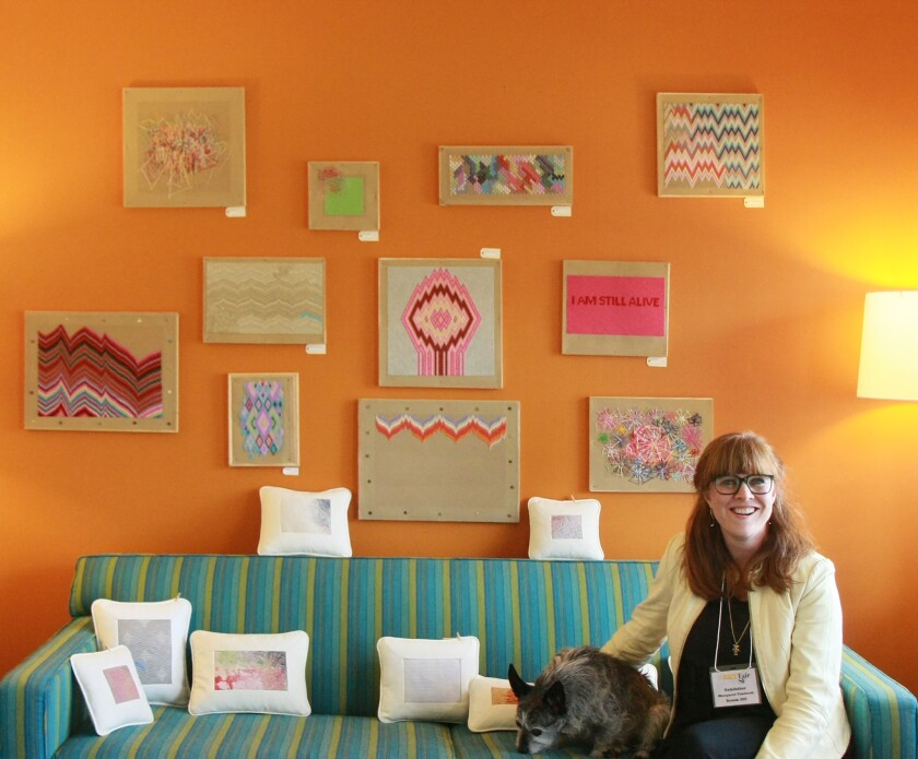 Margaret Timbrell, in her room during stARTup Art Fair's inaugural edition in San Francisco. This weekend, the show comes to Los Angeles.