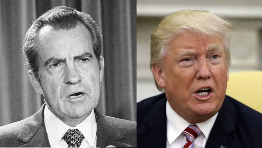 President Nixon in 1973. President Trump this month.
