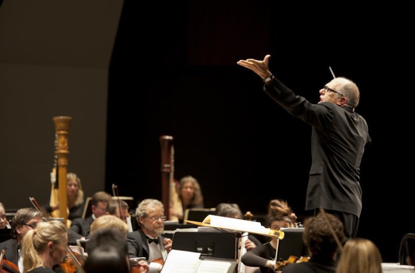 Steven Schick conducting the La Jolla Symphony. Photo: Bill Dean