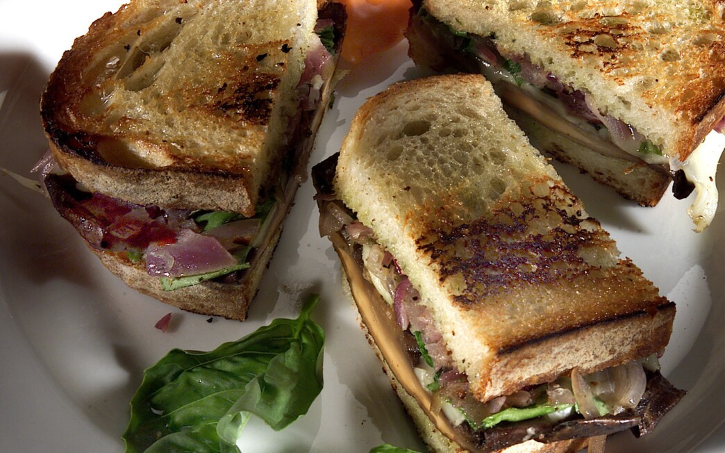 Grilled Panini With Roasted Portabello Mushrooms and Red Onions