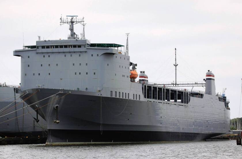 The U.S. cargo ship Cape Ray in Portsmouth, Va. Destroying Syrian chemical weapons agents at sea was chosen as a last resort when no country agreed to do it on land.