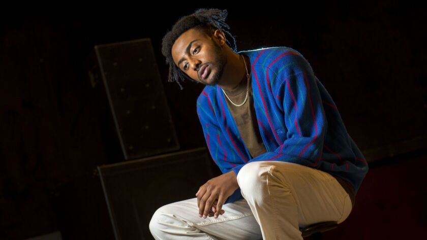 Rapper Aminé is shown during rehearsal with his band for his Coachella performances at Siren Studios in Hollywood on April 3. Aminé, whose parents are Ethiopian and Eritrean, grew up in Portland, but now calls L.A. home.