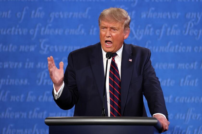 President Trump speaks during the first presidential debate Tuesday.