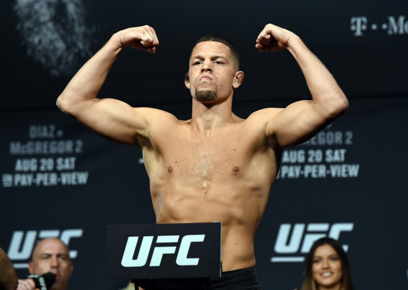 Nate Diaz is scheduled for fight Jorge Masvidal in the main event at UFC 244 on Saturday.