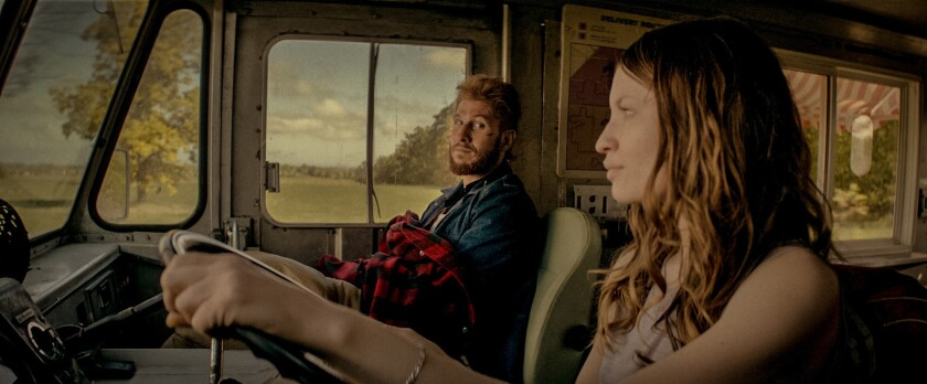 """Pablo Schreiber as leprechaun Mad Sweeney and Emily Browning as the resurrected Laura Moon in """"American Gods."""""""