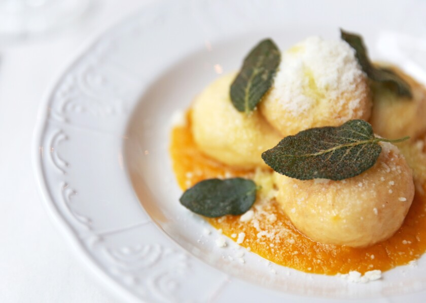 Gnudi with honey nut squash and brown butter from Soprano