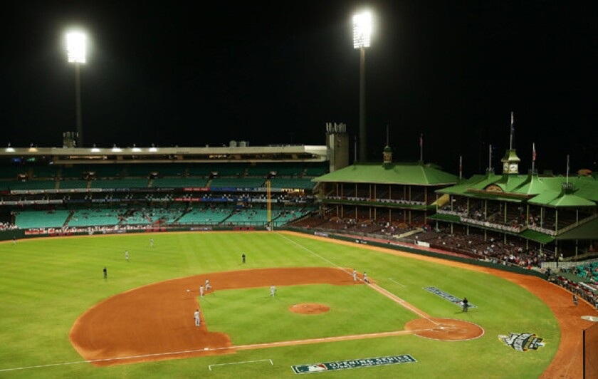 A view of the Sydney Cricket Ground during Thursday's baseball game between Team Australia and the Dodgers. Strengthening baseball's popularity Down Under is one of Major League Baseball's long-term ambitions.